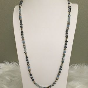 Long blue fashion necklace